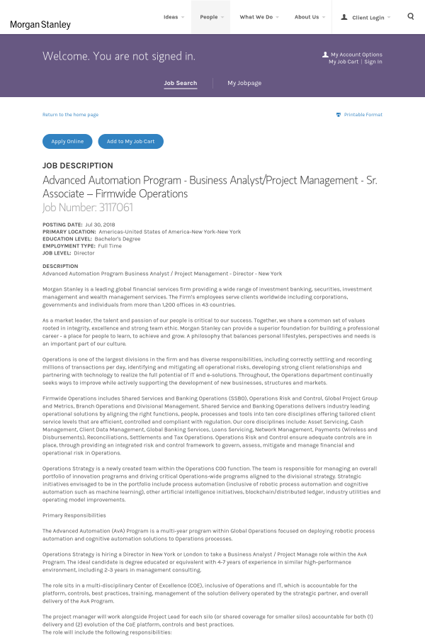 Advanced Automation Program Business Analyst Project Management