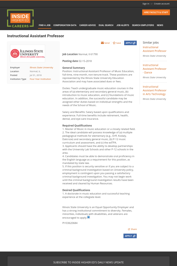 Instructional Assistant Professor Job At Illinois State University