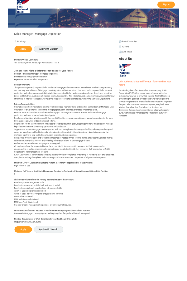 position title sales manager mortgage origination