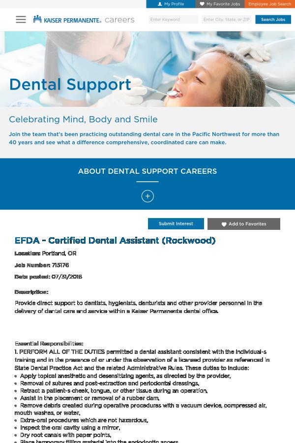 Efda Certified Dental Assistant Rockwood Job At Kaiser