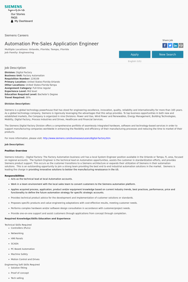 Automation Pre-Sales Application Engineer job at Siemens in Tampa ...