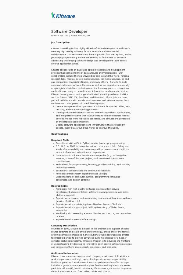 Software Developer job at Kitware in Clifton Park, NY - 13709631 ...