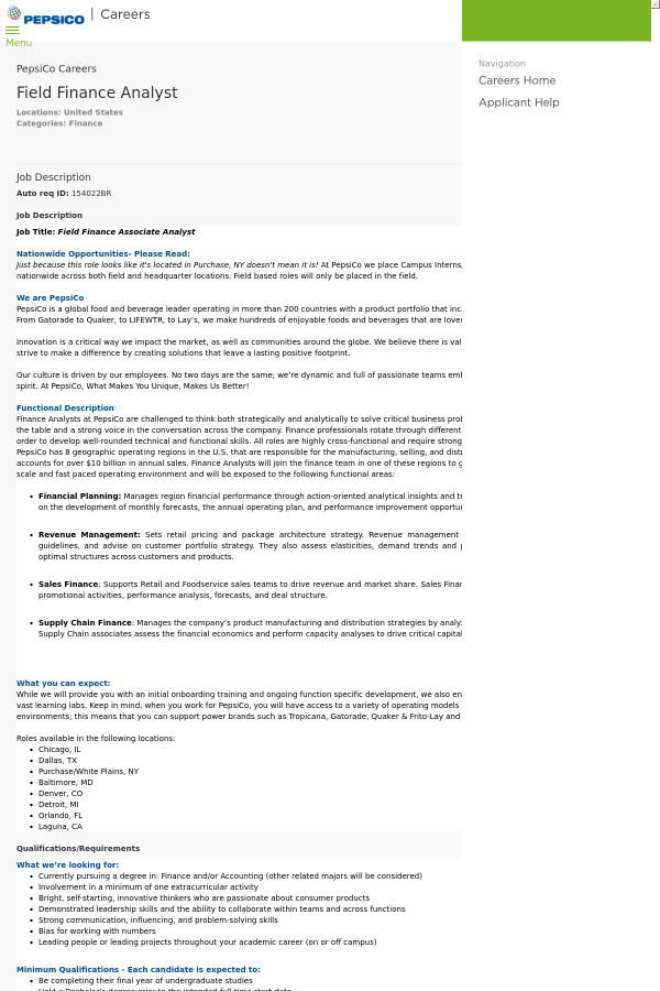Field Finance Analyst job at PepsiCo in United States - 13709960 ...