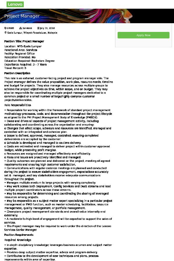 project manager job at lenovo in kuala lumpur malaysia 13712426