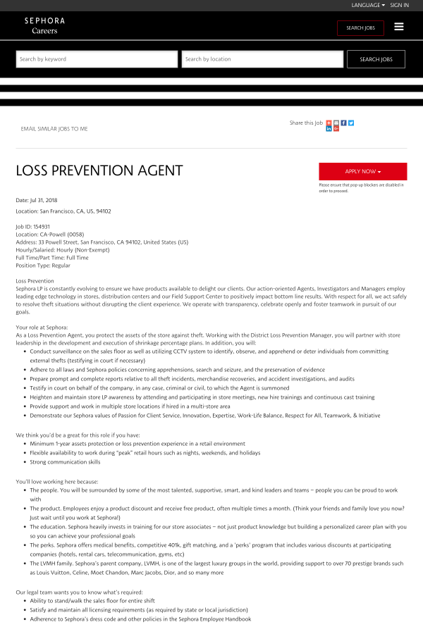 Loss Prevention Agent job at Sephora in San Francisco, CA - 13717794 ...
