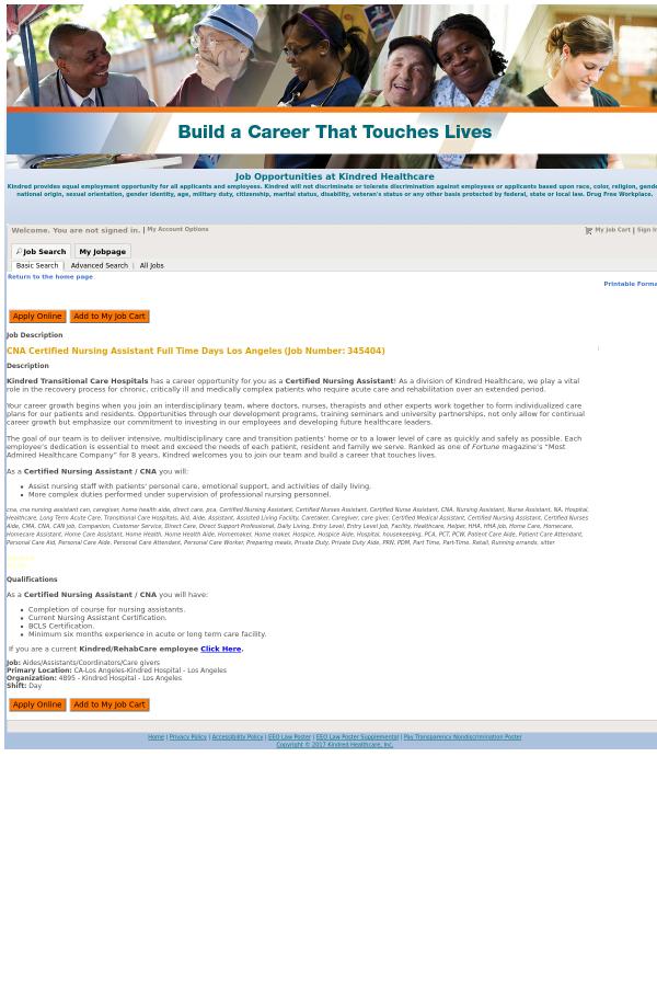 Cna Certified Nursing Assistant Days Los Angeles Job At Kindred