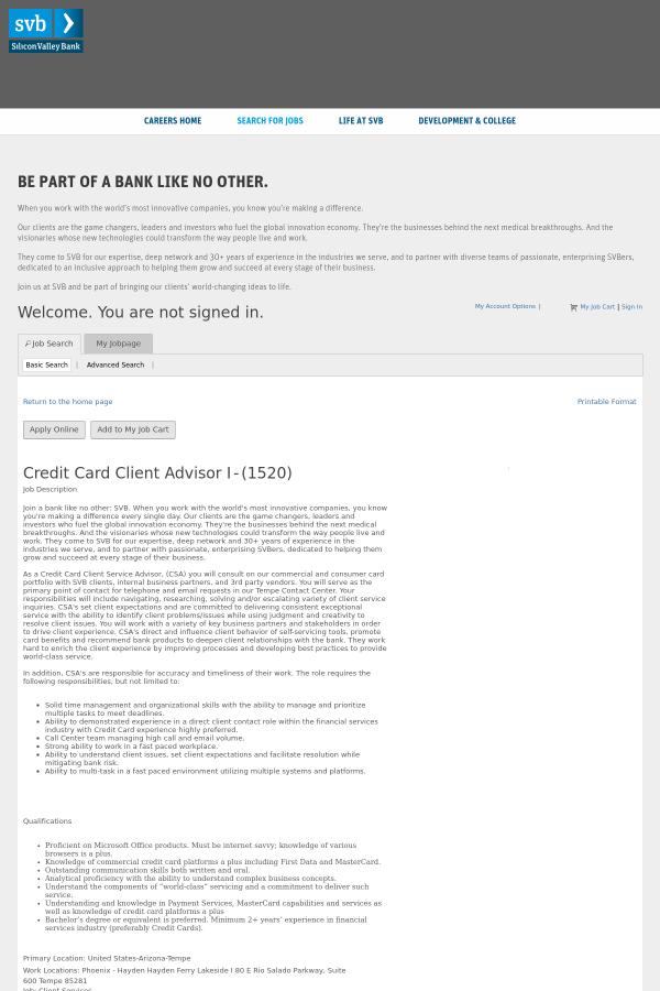 Credit card client advisor i job at silicon valley bank in tempe az job description colourmoves