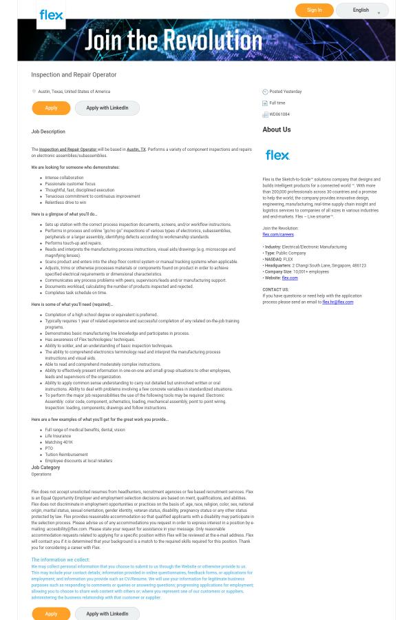 Inspection and Repair Operator job at Flex in Austin, TX - 13723975