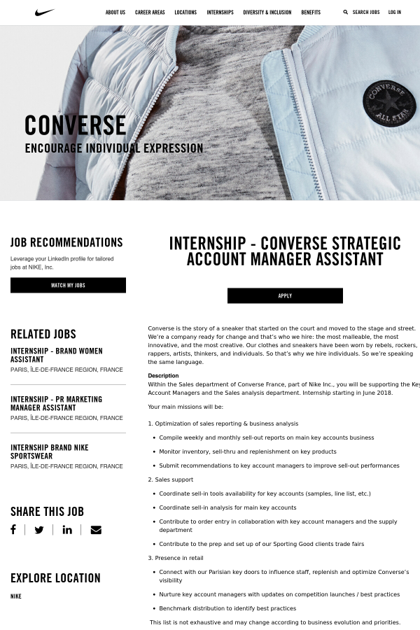 converse sales internship