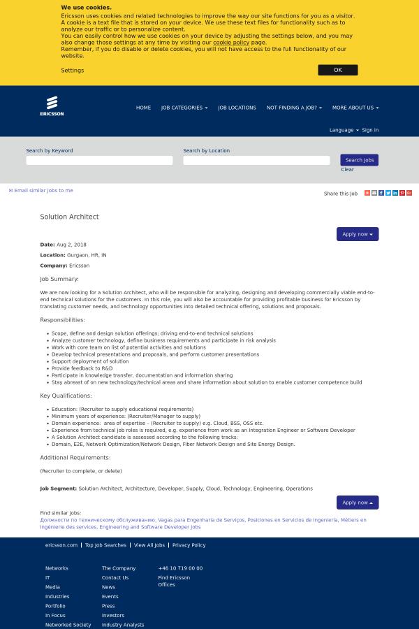 Solution Architect job at Ericsson in Gurgaon, India - 13729011