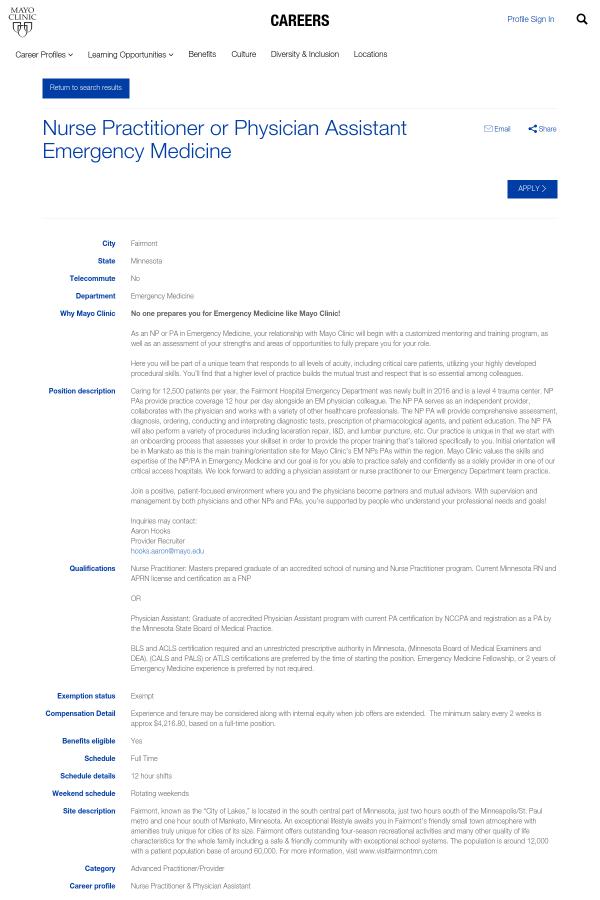 Nurse Practitioner Or Physician Assistant Emergency Medicine Job At