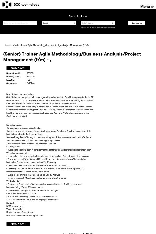 Senior) Trainer Agile Methodology / Business Analysis / Project ...