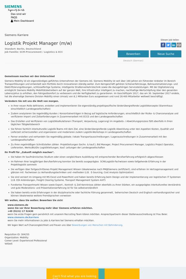 Logistik Projekt Manager (m/w) job at Siemens in Berlin, Germany ...