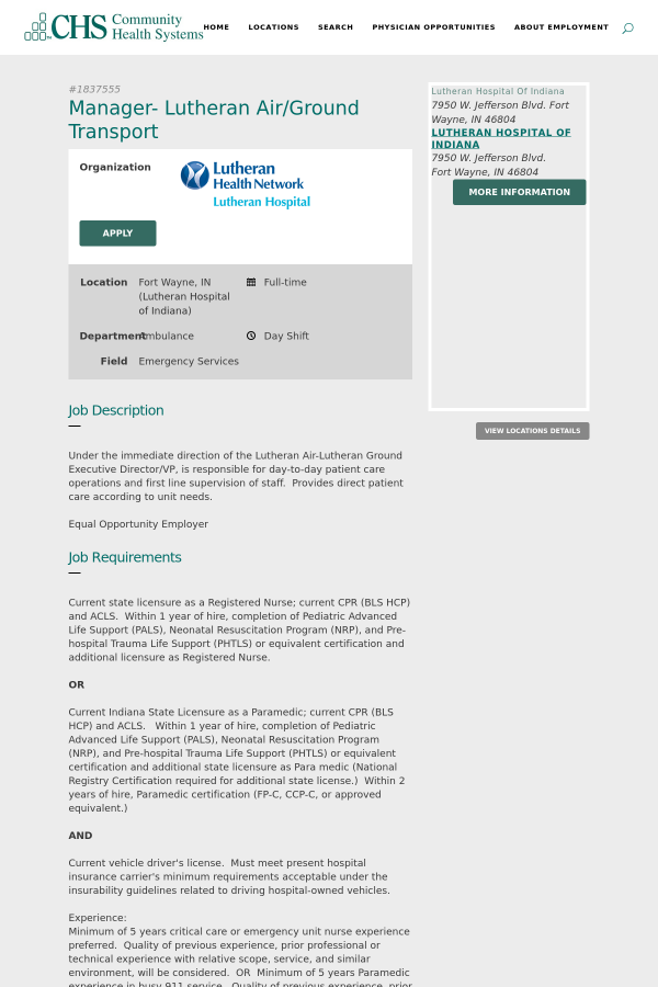 Manager Lutheran Air Ground Transport Job At Community Health