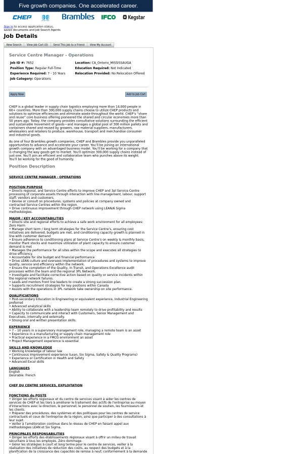 Service Centre Manager Operations Job At Chep In Mississauga