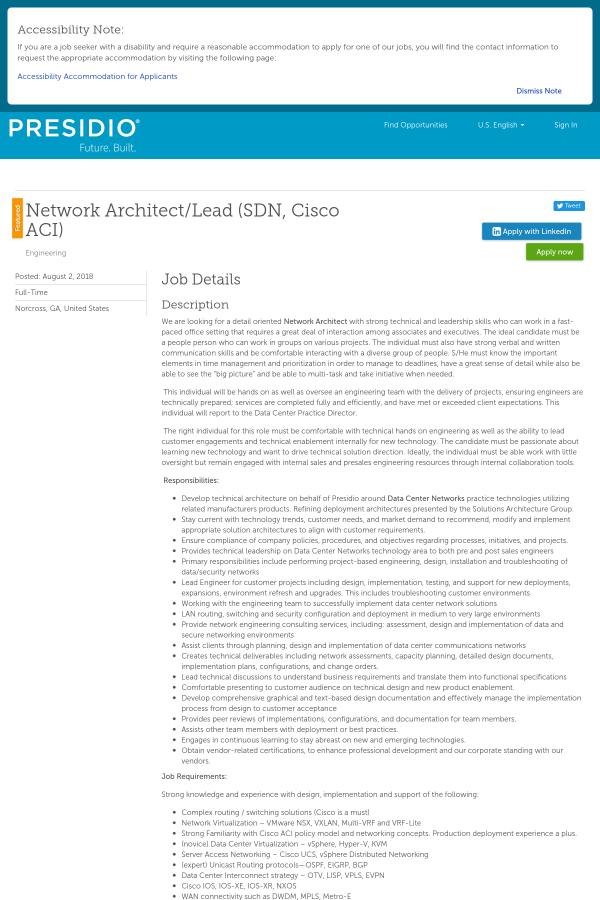 Network Architect Lead Sdn Cisco Aci Job At Presidio Networked