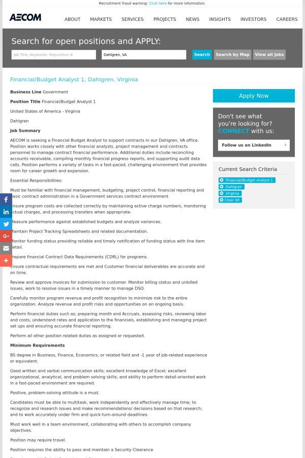 Financial Budget Analyst 1 Job At Aecom Technology Corporation In