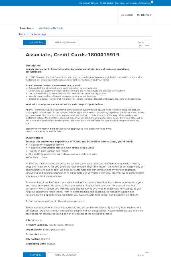 Associate credit cards job at bmo harris bank in montral canada description reheart Gallery