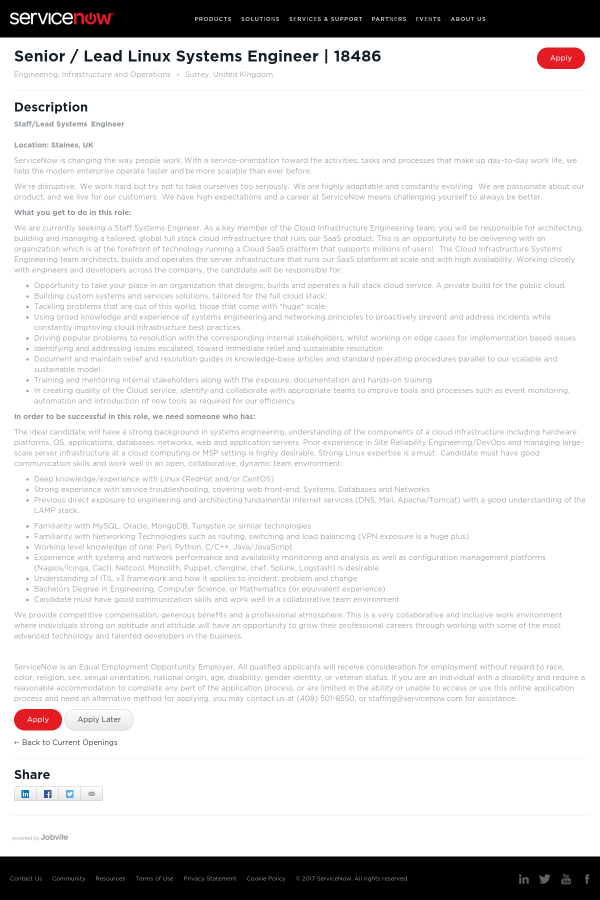 Senior / Lead Linux Systems Engineer job at ServiceNow in Guildford