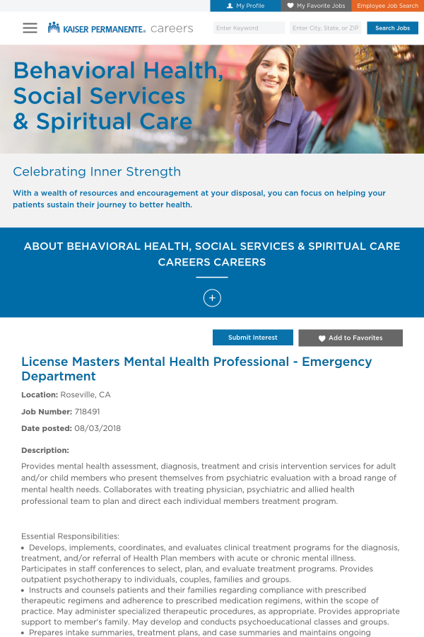 License Masters Mental Health Professional Emergency Department