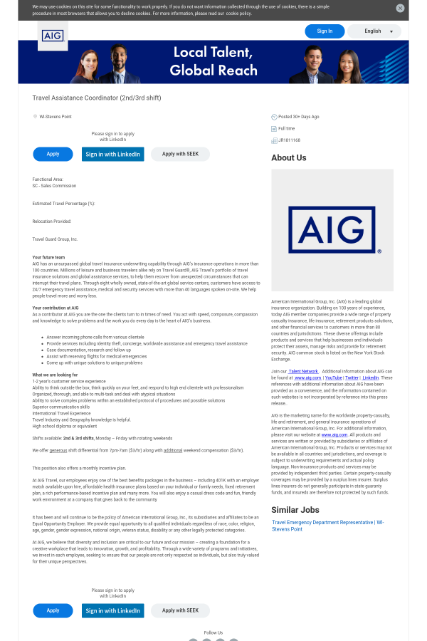 Travel Assistance Coordinator job at AIG in Stevens Point, WI