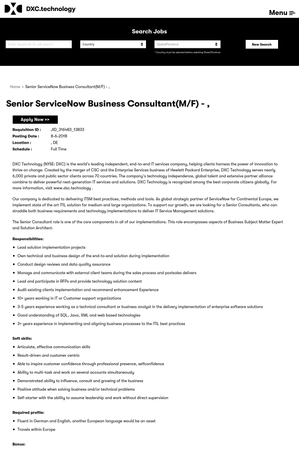 Senior ServiceNow Business Consultant (m/f) job at DXC