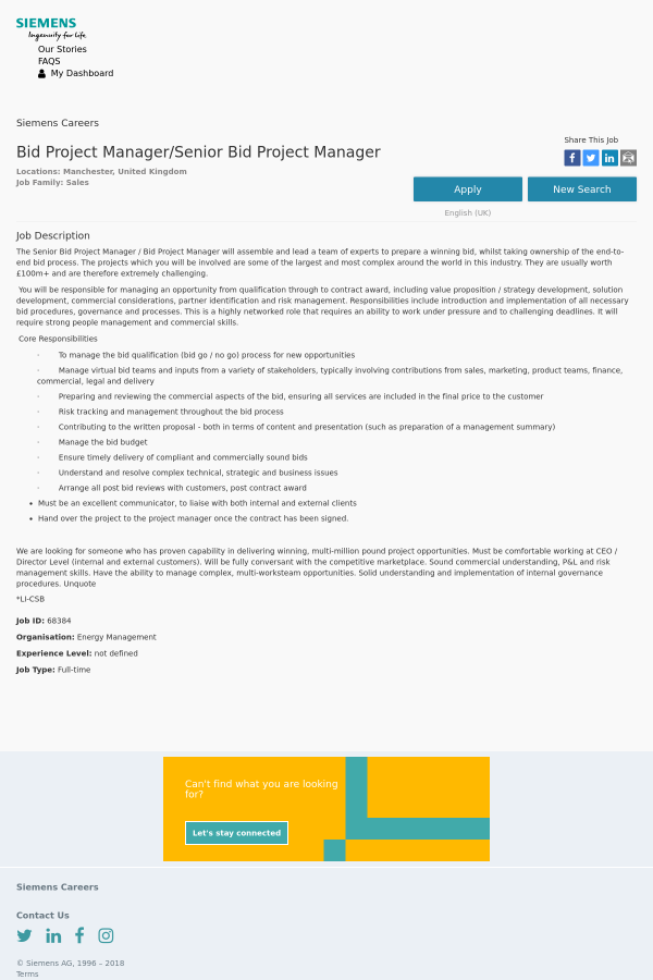 Bid Project Manager / Senior Bid Project Manager job at Siemens in ...