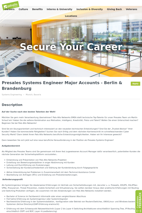Presales Systems Engineer Major Accounts - Berlin & Brandenburg job ...