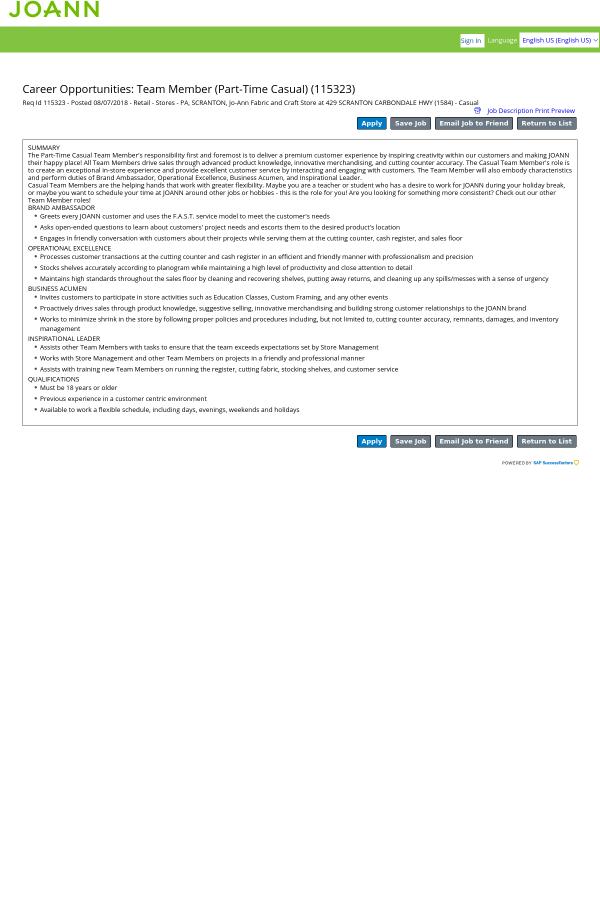 Team Member Casual Job At Jo Ann In Scranton Pa 13804213