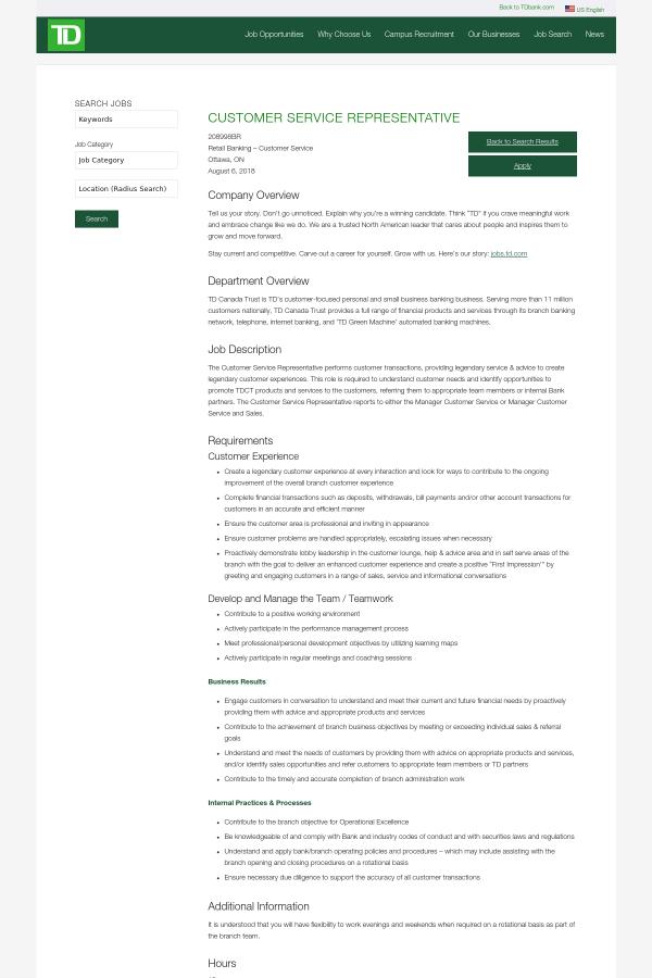Customer Service Representative job at TD Bank in Ottawa