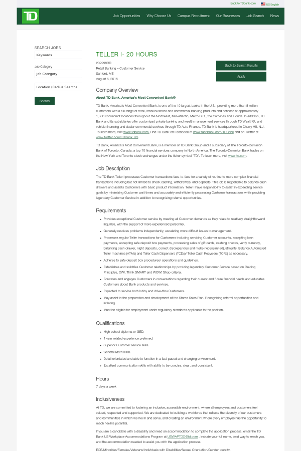 Teller I 20 Hours Job At Td Bank In Maine Usa 13805987