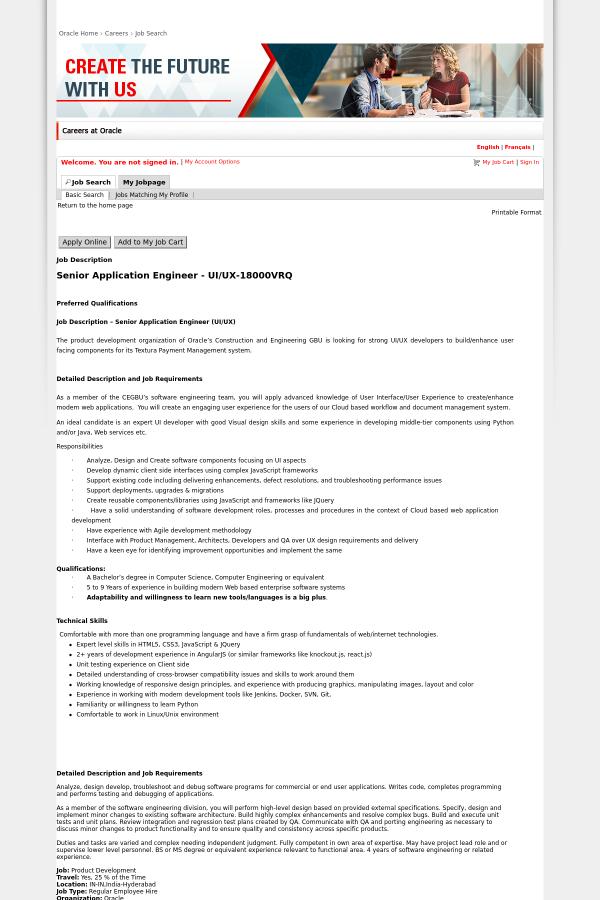 Senior Application Engineer - UI/UX job at Oracle in Hyderabad ...