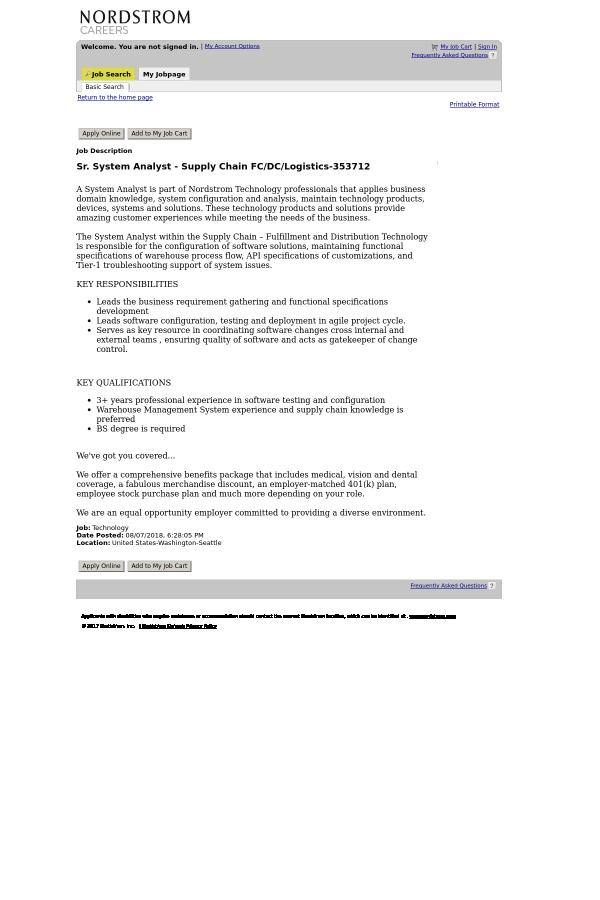 Senior System Analyst - Supply Chain FC / DC / Logistics job at ...