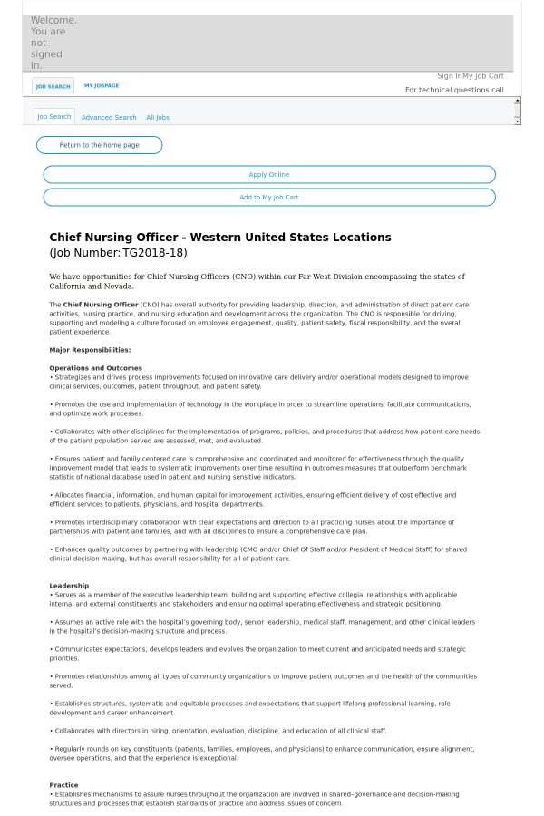 description we have opportunities for chief nursing officers