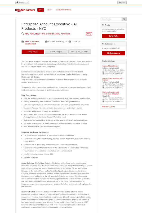 Enterprise Account Executive - All Products - NYC job at Rakuten in