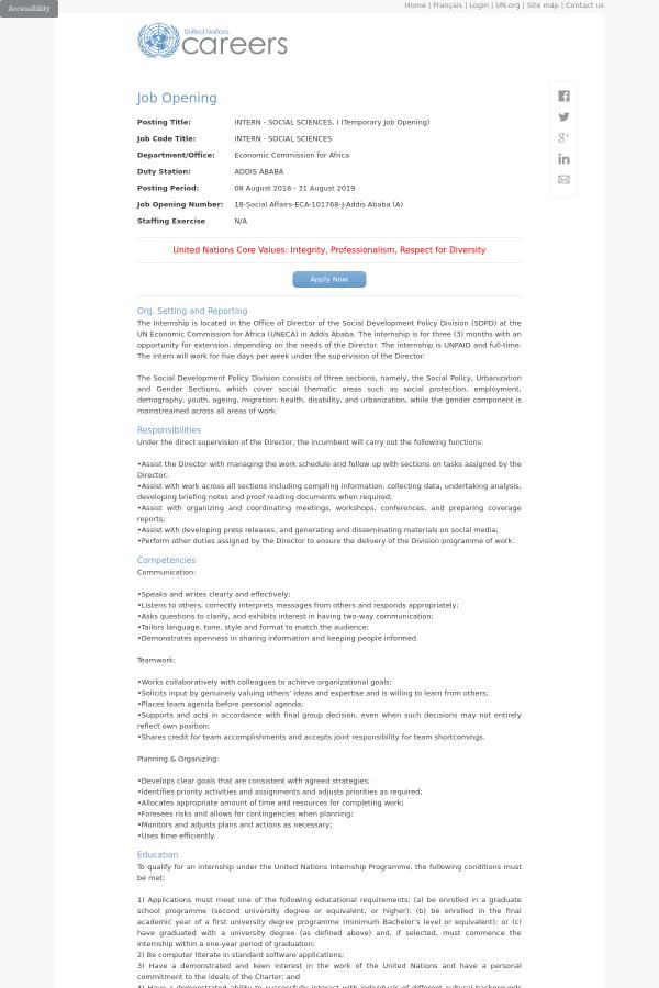 Intern - Social Sciences, I (Temporary Opening) job at United