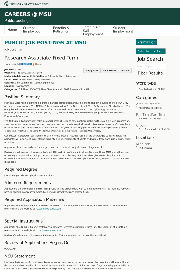 Research Associate - Fixed Term job at Michigan State