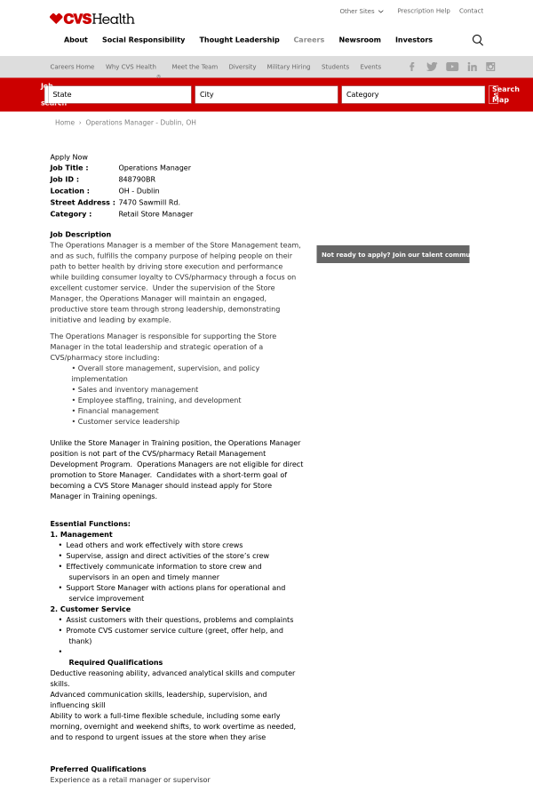 operations manager job at cvs health in dublin oh 13852838