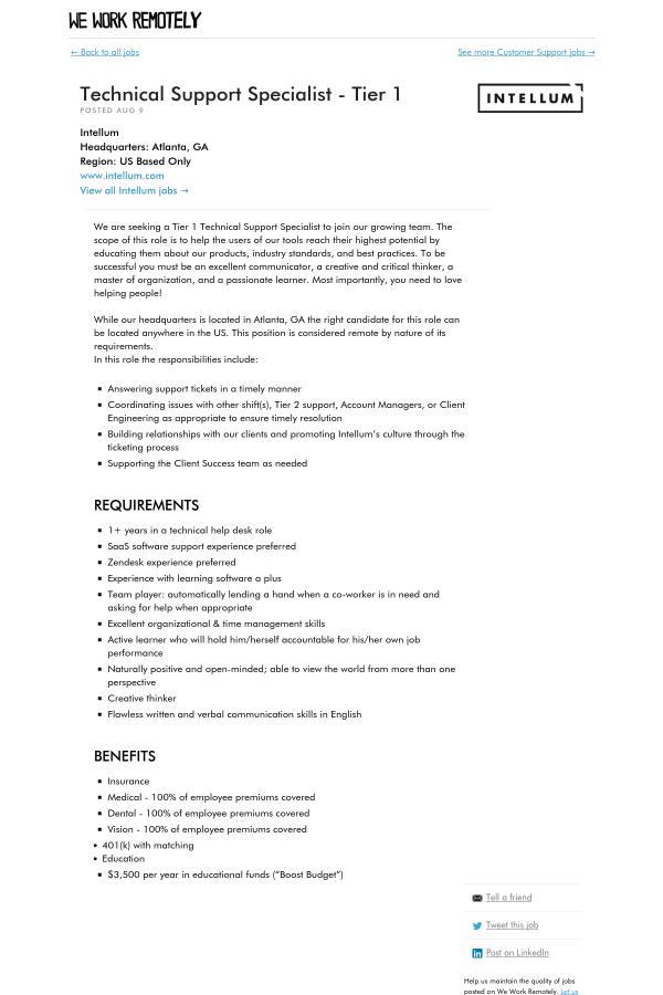 Technical Support Specialist - Tier 1 job at Intellum in Atlanta, GA ...