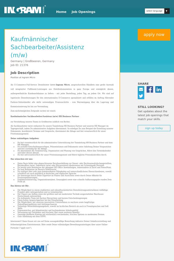 Kaufmännischer Sachbearbeiter / Assistenz job at Ingram Micro in ...