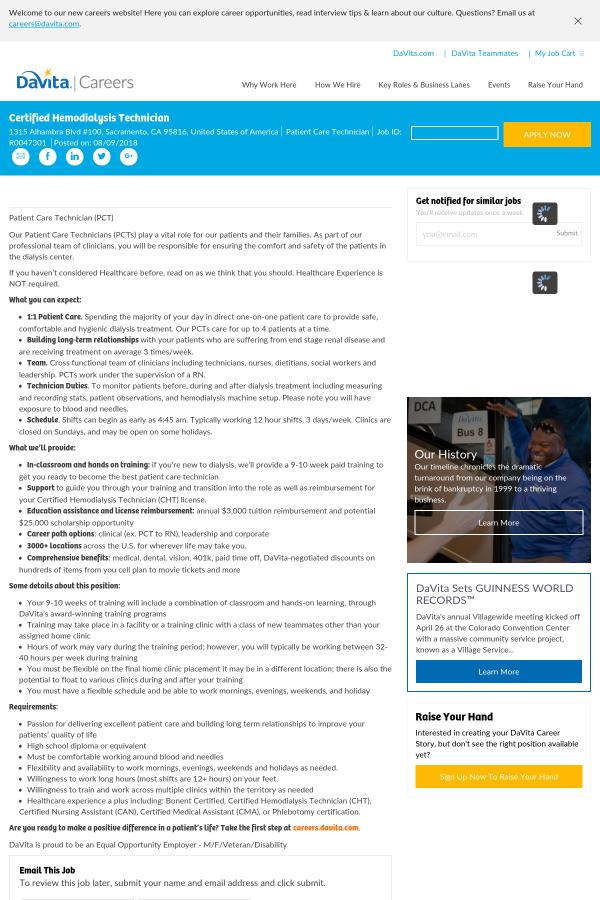 Certified Hemodialysis Technician Job At Davita Healthcare Partners