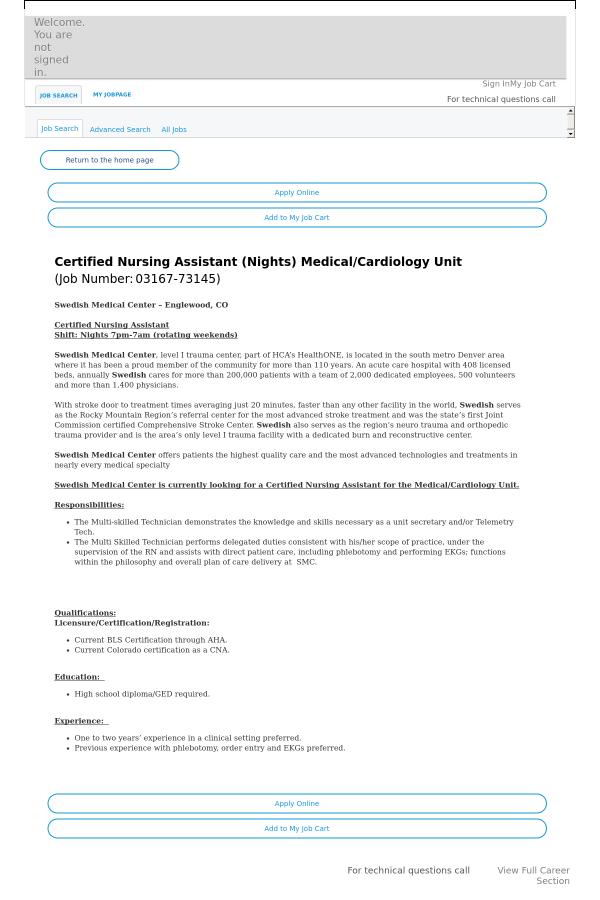 Certified Nursing Assistant Medical Cardiology Unit Job At Hca