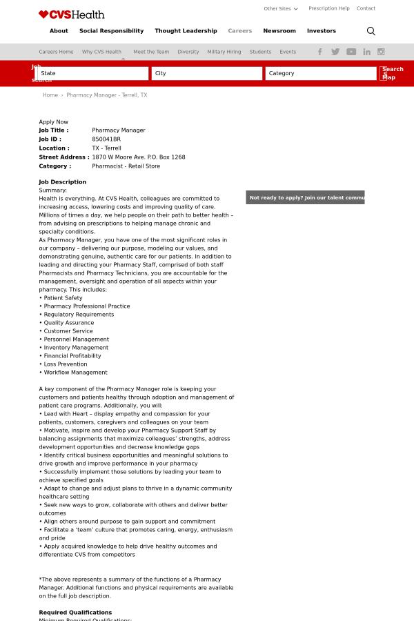 pharmacy manager job at cvs health in terrell tx 13873103