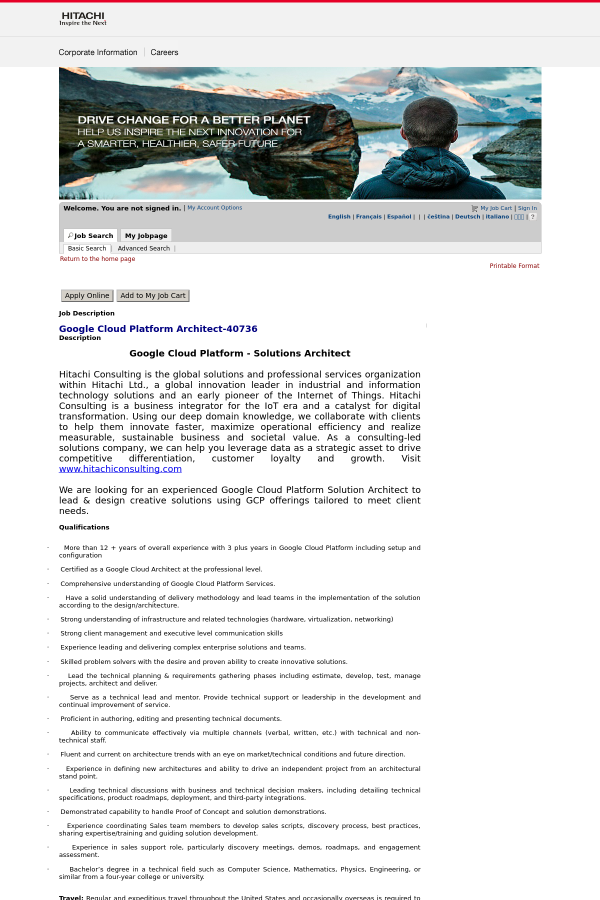 Google Cloud Platform Architect job at Hitachi Consulting in
