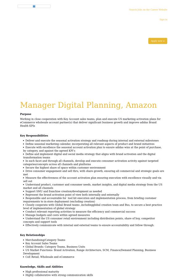 Gerente planeamiento digital, Amazon trabajo en adidas en Portland, or