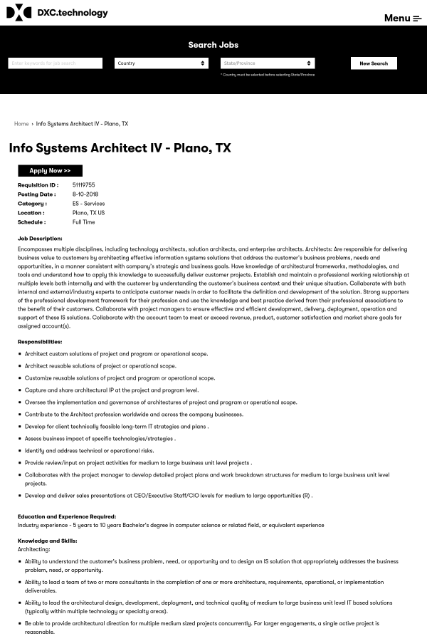 Info Systems Architect IV job at DXC Technology in Plano, TX