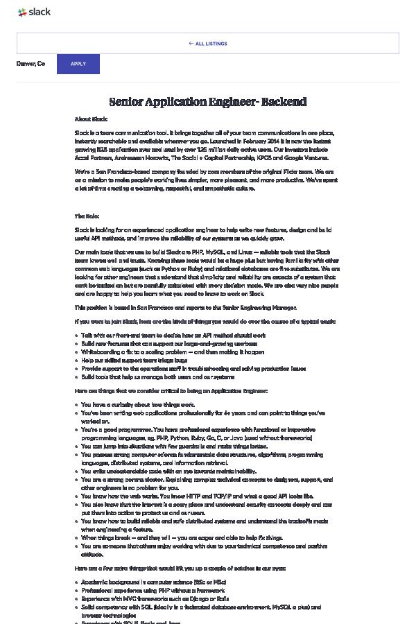 Senior Application Engineer - Backend job at Slack in Denver, CO ...