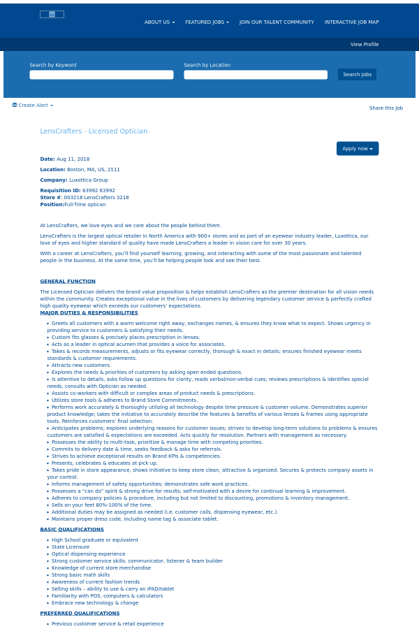 Lenscrafters Licensed Optician Job At Oakley In Boston Ma