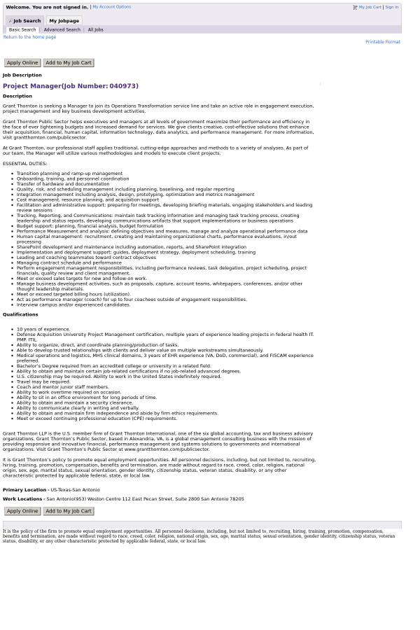 Project Manager Job At Grant Thornton In San Antonio Tx 13907385