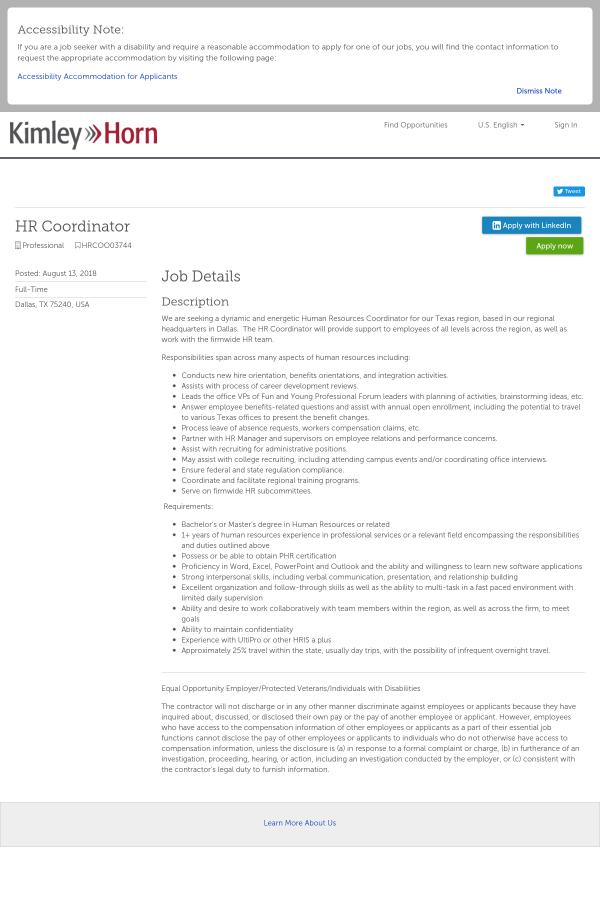 Hr Coordinator Job At Kimley Horn In Dallas Tx 13909775 Tapwage
